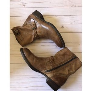 Paul Green Brown Buckle Braid Boots Leather 9.5